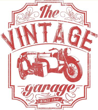 Bluza męska z kapturem, nadruk: motocykl z wózkiem bocznym, napis Vintage garage