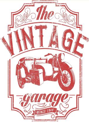 Bluza damska, nadruk: motocykl z wózkiem bocznym, napis Vintage garage