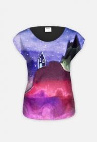 T-shirt damski fullprint Domek