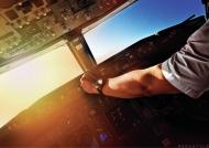 AeroStyle - plakat, kokpit Boeinga 737, pilot przy pracy