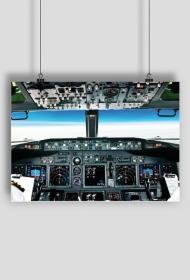 AeroStyle - plakat, kokpit Boeinga 737 w trakcie lotu