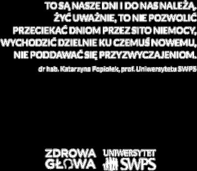 Czarna torba z cytatem prof. Popiołek - Zdrowa Głowa i Uniwersytet SWPS