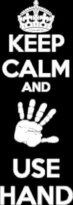 KEEP CALM AND USE HAND BLUZA (męska/biała grafika)