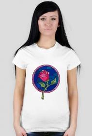 Fanowska koszulka z Pięknej i Bestii - damska biała bez napisu