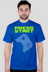PRESS START LOGO green - blue t-shirt