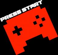 PRESS START PAD orange - dark blue t-shirt