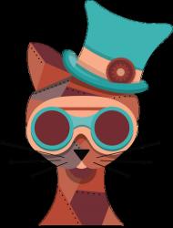 Steampunk Cat – kubek z kolorowym uchem