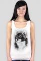 Damska koszulka bez rękawów - koci portret