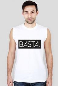 Koszulka męska sportowa biała z napisem BASTA.