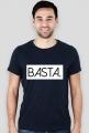 Koszulka męska z napisem włoskim BASTA.