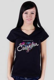 Koszulka V-neck czarna CASANDRA #2 (logo przód)