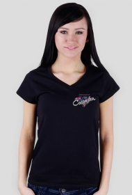 Koszulka V-neck czarna CASANDRA #2 (logo przód i tył)