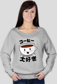 "Bluza damska - ""Kocham kawę"" po japońsku"