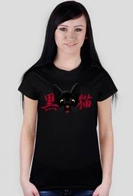 """T-shirt damski - """"Czarny kot"""" po japońsku"""