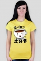 "T-shirt damski - ""Kocham kawę"" po japońsku"