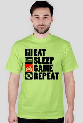 EAT, SLEEP, GAME, REPEAT - koszulka męska (różne kolory)