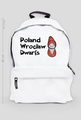 Biały plecak Locativus z napisami