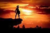 Kolorowa maseczka ochronna wielokrotnego uzytku Zachod slonca Spartanin