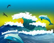 Kolorowa maseczka ochronna wielokrotnego uzytku Delfiny o wschodzie slonca