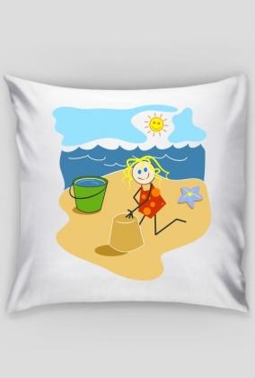 Poszewka na jaska Dziewczynka na plazy
