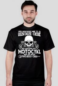 Jeśli uszkodzisz mnie to ja uszkodzę Ciebie czarny - koszulka motocyklowa męska