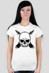 Czaszka, świece - damska koszulka motocyklowa