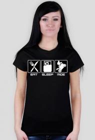 Eat sleep ride - damska koszulka motocyklowa