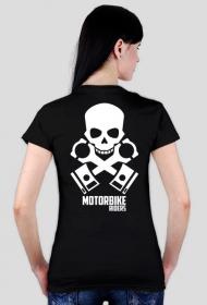 Motorbike riders skull - damska koszulka motocyklowa tył