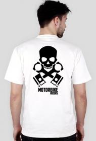 Motorbike riders skull - męska koszulka motocyklowa white tył