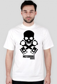 Motorbike riders skull - męska koszulka motocyklowa white