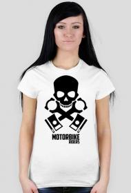 Motorbike riders skull - damska koszulka motocyklowa white tył