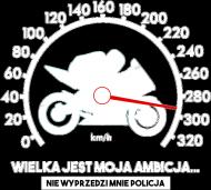 Wielka jest moja ambicja, nie dogoni mnie policja - damska koszulka motocyklowa