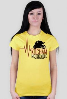 Kocham motocykle i nic tego nie zmieni ekg czerwony - koszulka motocyklowa damska