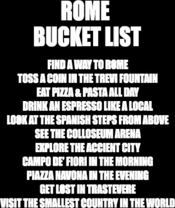 ROME BUCKET LIST