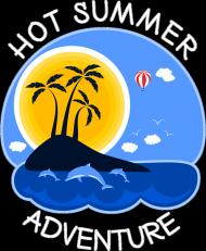 Koszulka damska czarna na ramiączkach na wakacje i lato - Hot Summer Adventure