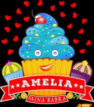 Amelia Fajna Babka - Koszulka damska czarna z imieniem