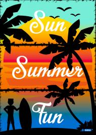 Sun Summer Fun - Sportowa biała koszulka męska