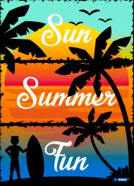 Sun Summer Fun - Biała koszulka męska z rękawami kolor