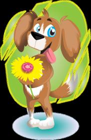 Maseczka Ochronna Pies z kwiatem
