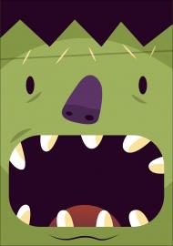 Sympatyczna twarz zielonego potwora w komiksowym stylu - Halloween - damska koszulka
