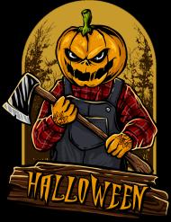 Straszna postać dyniogłowego z siekierą i upiorny napis Halloween - grafika - komiks - damska koszulka