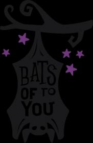 Bats Of To You - zabawny napis - nietoperz - Halloween - gwiazdy - gałąź - grafika - komiks - męska koszulka