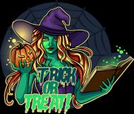 Atrakcyjna postać czarownicy/Wiedźmy z napisem Trick Or Treat! - kapelusz - księga - pajęczyna - dynia - grafika - komiks - damska koszulka