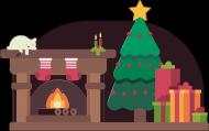 Świąteczna atmosfera - choinka - skarpeta - śnieg - prezenty - kominek - kot - Boże Narodzenie - damska koszulka