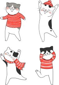 Tańczące koty w świątecznych ubraniach sweter - szalik - czapka - Boże Narodzenie - męska koszulka