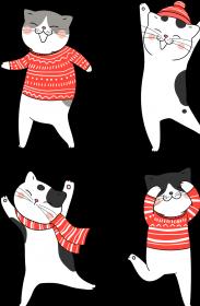 Tańczące koty w świątecznych ubraniach sweter - szalik - czapka - Boże Narodzenie - dziewczynka koszulka