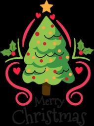 Choinka z bąbkami i gwiazdą oraz napis Merry Christmas - Boże Narodzenie - damska koszulka
