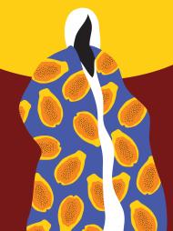 T-shirt z autorską grafiką, Papaya