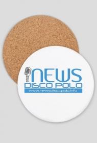 Podkładka pod kubek lub kufel okrągła tekturowo-korkowa z nadrukiem NewsDiscoPolo