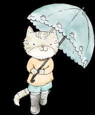 Bawełniana maseczka wielorazowa trójwarstwowa z kotem i parasolką